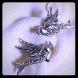 Dove w/ Olive Branch Bird Screwback Earrings